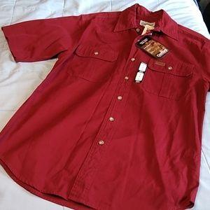 Carhartt Short Sleeve Work Shirt Dark Red Small